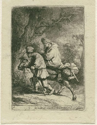 The Flight into Egypt must have had a special significance for Rembrandt, for he revisited the subject repeatedly. This version of 1633 is much more skilfully etched than the previous one. However, he did struggle with the porous etching ground, which renders the sky an uneven grey. This is not too disturbing: with a little imagination, it looks just like a starry sky. Date: 1633. Object ID: RP-P-OB-102.