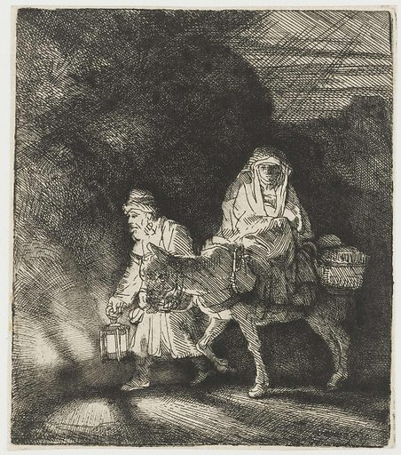 The flight into Egypt: a night piece. Date: 1651. Object ID: RP-P-OB-104.