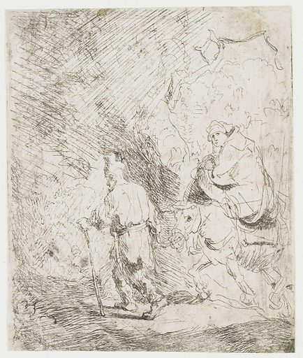 This is one of Rembrandt's earliest prints. In it, he is clearly experimenting with the technique. He etches as though he were drawing, very sketchily and with many rapid strokes. It was not as yet a great success. Joseph and Mary are represented with their child on their way to Egypt. They were fleeing from King Herod, who considered Jesus his rival and was intent on killing him. Date: c 1628. Object ID: RP-P-OB-108.