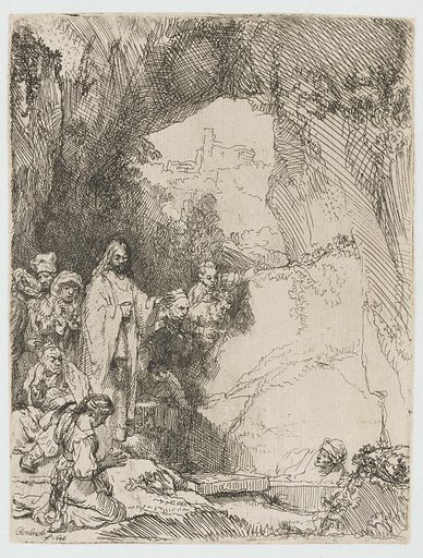 The raising of Lazarus: small plate. Date: 1642. Object ID: RP-P-OB-141.
