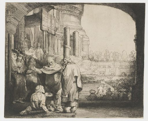Peter and John healing the cripple at the gate of the temple. Date: 1659. Object ID: RP-P-1961-1040.