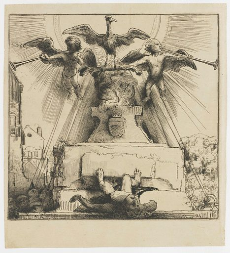 This print soon came to be called 'het raare zinnebeeld van de phenix' (the odd symbol of the phoenix). Despite much speculation, exactly what Rembrandt depicted here remains unclear. We see a phoenix, the mythical bird that rises from its ashes, flanked by two angels blowing loudly on their trumpets. A statue of a nude man toppled from its base lies in the foreground. Date: 1658. Object ID: RP-P-1962-53.