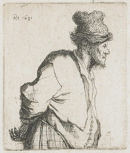Peasant with his hands behind his back. Date: 1629. Object ID: RP-P-1961-1064.