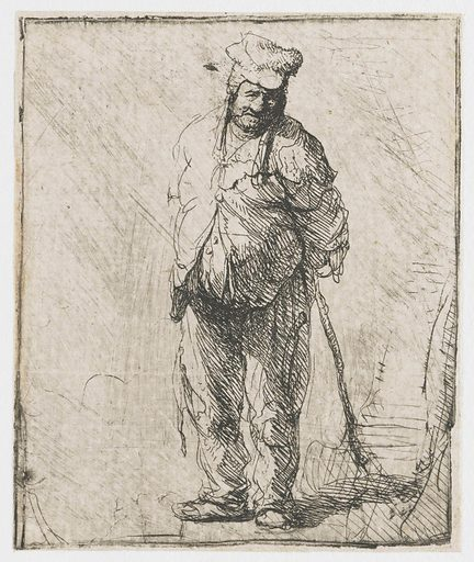 Ragged peasant with his hands behind him, holding a stick. Date: c 1630. Object ID: RP-P-OB-404.