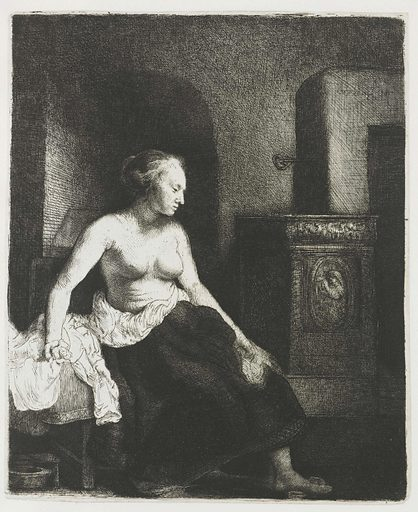 Woman sitting half dressed beside a stove. Date: 1658. Object ID: RP-P-1961-1107.