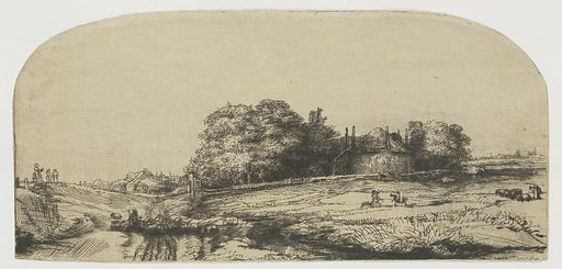 Cottages and a hay barn on the Diemerdijk with a flock of sheep. Date: 1650. Object ID: RP-P-OB-458.