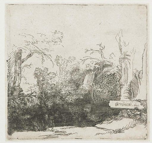 A brook with a grotto and a boat. Date: 1645. Object ID: RP-P-OB-470.