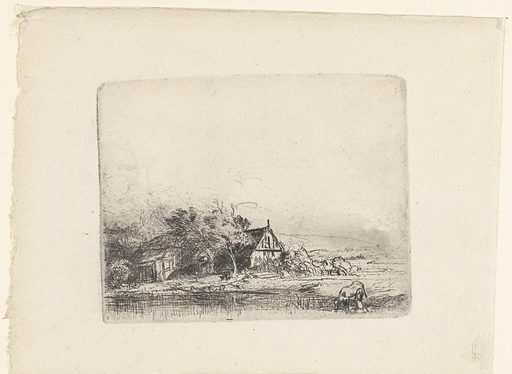 Landscape with a cow drinking. Date: 1850 – 1906. Object ID: RP-P-OB-482.