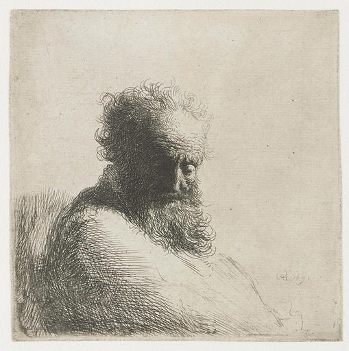 Bust of an old bearded man, looking down, three quarters right. Date: 1631. Object ID: RP-P-1961-1134.