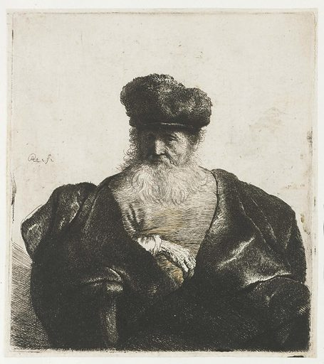 Old man with beard, fur cap, and velvet cloak. Date: c 1631. Object ID: RP-P-OB-506.