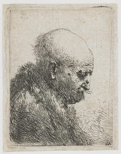 Bald headed man in profile right: small bust, the artist's father (?). Date: 1630. Object ID: RP-P-1961-1171.