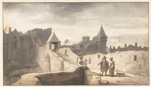 City wall at the Erdre in Nantes. Date: 1670 – 1675. Object ID: RP-T-1898-A-3696.