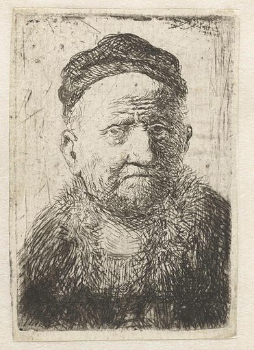 Man wearing a close cap: bust (the artist's father?). Date: after 1630. Object ID: RP-P-OB-12.390.