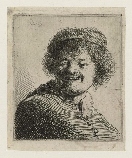 Smiling self-portrait with hat. Date: 1630. Object ID: RP-P-OB-688.