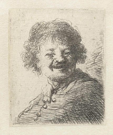 Self-portrait in a cap: laughing. Date: after 1630. Object ID: RP-P-OB-12.400.
