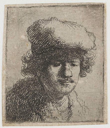Self-portrait with hat pulled forward. Date: 1629 – 1633. Object ID: RP-P-1961-1183.