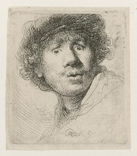 Self-portrait in a Cap, Wide-eyed and Open-mouthed