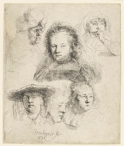 In 1634 Rembrandt married Saskia Uylenburgh, the daughter of a mayor of Leeuwarden. Almost all of the heads in these studies are of her. Rembrandt evidently thoroughly enjoyed portraying his new bride in ever-different poses. The fluid lines suggest that he drew directly on the etching ground, at times without his models being aware of it. Date: 1636. Object ID: RP-P-1961-1198.