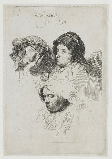 Three female heads, one asleep. Date: 1637. Object ID: RP-P-1961-1190A.