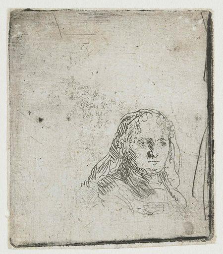 In 1641 bracht Saskia haar vierde kind ter wereld, een zoon, Titus. De vreugde werd snel getemperd door een slopende aandoening waarmee ze te kampen kreeg, waarschijnlijk tuberculose. Toen ze in 1642 overleed, was ze nog geen 30 jaar oud. Tot het laatst heeft Rembrandt haar geschetst. Vooral in het etsje rechts weet hij haar lege blik treffend te tekenen. Date: 1632 – 1638. Object ID: RP-P-OB-781.