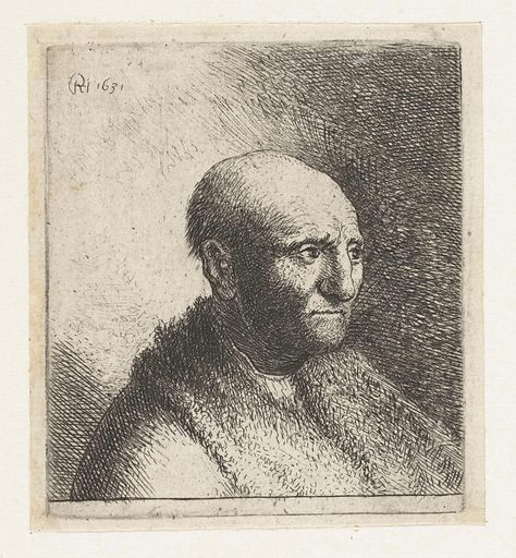 Bust of a bald man with a fur coat. Origin: Netherlands. Date: 1628 – 1631. Object ID: RP-P-OB-703.