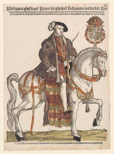 Portrait of Philip II on horseback. Origin: Low Countries. Date: 1542 – 1543. Object ID: RP-P-1932-154.