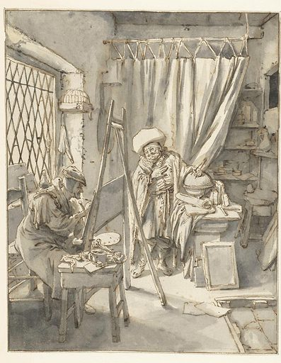 The aged painter is wearing an imaginary historical (quasi medieval) costume. His corpulent model, with the enormous hat and cloak, appears to be playing a geographer of the ancient world. This could hardly have been meant to be taken seriously: it is a private dig at the vain aspirations of an artist who was attempting a theme that was obviously beyond his reach. Date: 1690 – 1700. Object ID: RP-T-00-175.