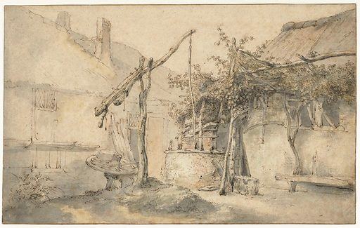 When Adriaen van Ostade died, Cornelis Dusart inherited the studio's contents from his master. This included drawings by Adriaen's brother, Isaac. Dusart made this landscape after one of Isaac's drawings. Dusart's copy is less detailed and a little dull compared to the original. Whether Dusart drew these copies purely to practise or perhaps to pass them off as genuine Van Ostades is no longer known. Date: 1670 – 1704. Object ID: RP-T-1975-59.