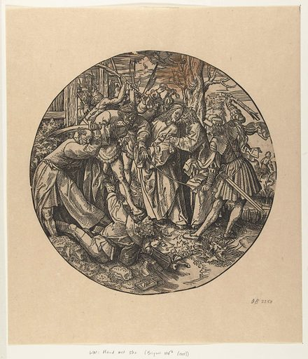 The Judas kiss. Origin: Low Countries. Date: in or after 1517 – 1533. Object ID: RP-P-OB-2250.
