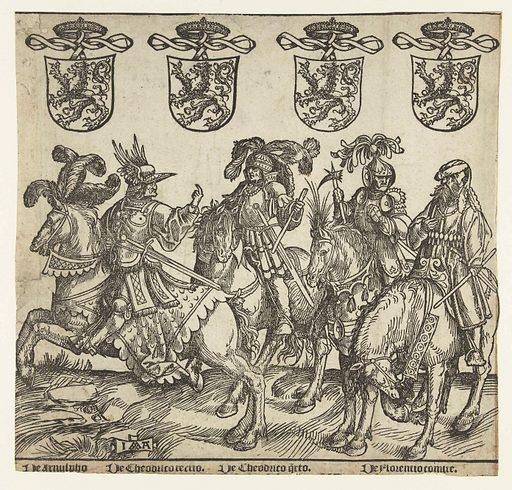 Arnulf, Dirk III, Dirk IV and Floris I. Origin: Low Countries. Date: 1518. Object ID: RP-P-BI-6235A.