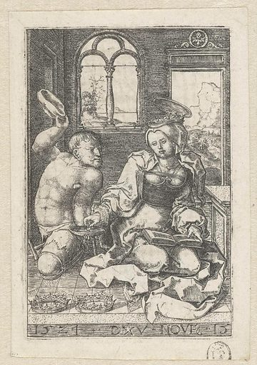 Saint Elisabeth of Hungary gives alms to a cripple. Date: 1524. Object ID: RP-P-1976-1.
