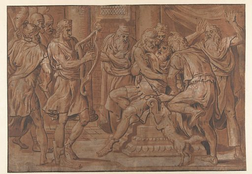David plays the harp for Saul. Date: 1555. Object ID: RP-P-OB-2164.