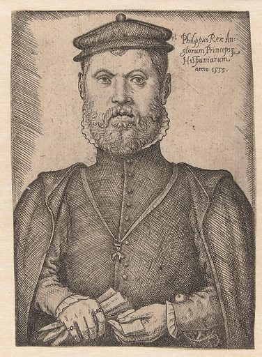 Portrait of Philips II. Origin: Low Countries. Date: 1555. Object ID: RP-P-1892-A-17329.