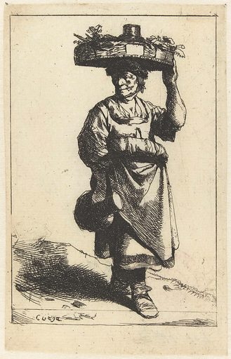 Woman standing with jug in hand and basket on her head. Origin: Netherlands. Date: 1642 – 1664. Object ID: RP-P-BI-760.
