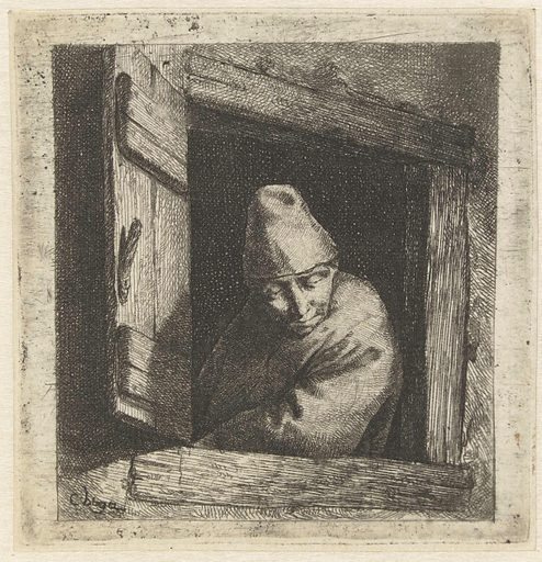 Man at open window. Origin: Netherlands. Date: 1642 – 1664. Object ID: RP-P-BI-761.