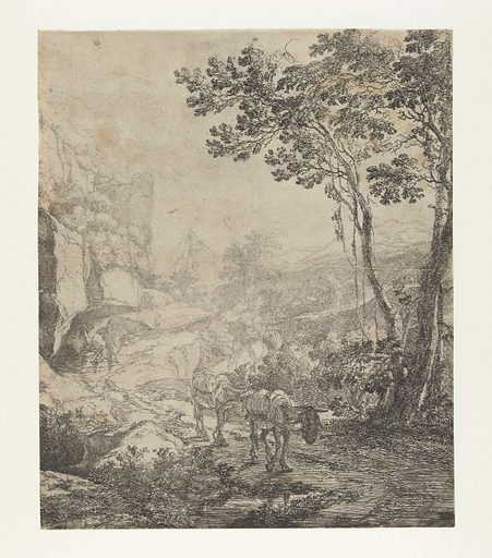 Landscape with two mules in front of the Rocca Aquatico near Ancona. Origin: Utrecht. Date: 1644 – 1652. Object ID: RP-P-1878-A-2573.