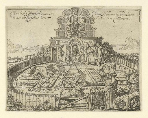 Allegory of the unreliability of Spain and the freedom and prosperity of the Seven Provinces: the Hollandse Tuin. Origin: Netherlands. Date: 1615. Object ID: RP-P-1935-836.