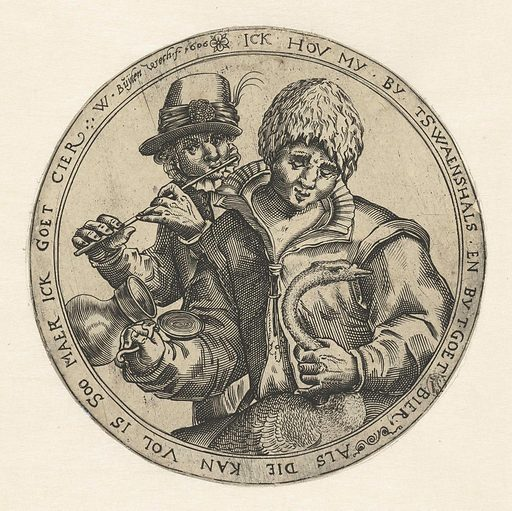 Man with a swan and jug and a flute player. Origin: Netherlands. Date: 1606. Object ID: RP-P-1933-291.