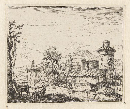 Italianate landscape with round tower and two goats. Origin: Netherlands. Date: 1652 – 1728. Object ID: RP-P-1934-394.