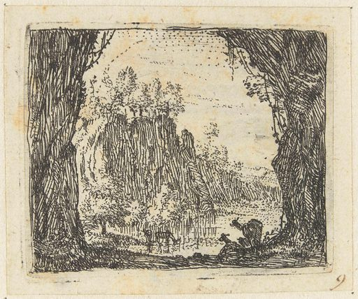 Italianate landscape with goats by a river. Origin: Netherlands. Date: 1652 – 1659. Object ID: RP-P-H-1342.
