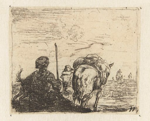 Italianate landscape with man, dog, shepherd and horse. Origin: Netherlands. Date: 1652 – 1659. Object ID: RP-P-1885-A-9599.