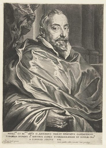 Portrait of Antonius Triest, bishop of Ghent. Origin: Low Countries. Date: after 1632 – before 1645. Object ID: RP-P-BI-7415.