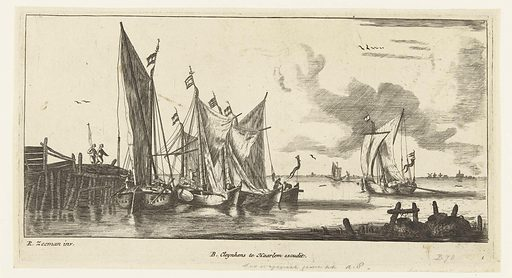 Draft barges or Spaarndam fishing boats. Origin: Netherlands. Date: c 1730 – 1760. Object ID: RP-P-1884-A-8083.