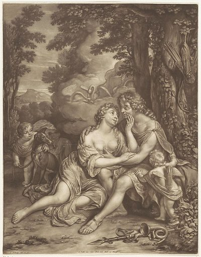 Venus keeps Adonis from hunting. Origin: Delft. Date: 1660 – 1693. Object ID: RP-P-OB-17.527.