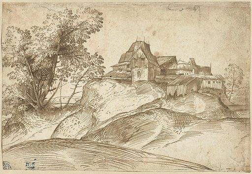 Domenico Campagnola built up the composition of this hilly landscape diagonally from left to right. Typical of his drawing style is the way in which he suggested shadows with parallel hatching. He left some parts completely empty, such as the sky and passages of the foreground. He had adopted this way of drawing from Titian, one of the great innovators of 16th-century landscape art. Date: c 1520. Object ID: RP-T-1958-132(R).