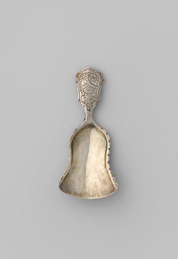 Sugar scoop made of silver. Origin: Den Bosch. Date: 1850. Object ID: BK-1960-116.