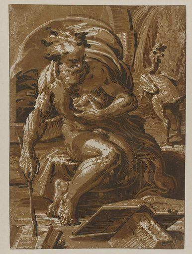 The Greek philosopher Diogenes is depicted here with a plucked chicken. This was his mocking reaction to Plato's definition of man as a featherless biped. Ugo da Carpi made this influential woodcut after a design by the painter Parmigianino just before Heemskerck arrived in Rome. Heemskerck must have seen this print and, years later, was inspired by the dynamic figure in his swirling drapery when composing his Strong Men. Origin: Italy. Date: 1502 – 1532. Object ID: RP-P-OB-31.273.