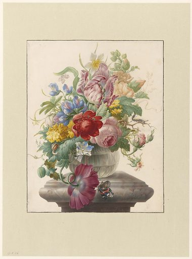 Herman Henstenburgh is known for the pure and powerful colours with which he rendered his remarkably soft, even rarefied, floral still lifes. He often painted them on costly parchment, such as here. In spite of his fame and the expensive materials he used, one wonders whether he actually made a living from his art: he also worked as a pastry baker until his death. Date: c 1700. Object ID: RP-T-1898-A-3500.