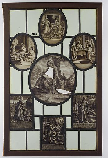Window with, among others, Saint Luke, Augustinius, Francis and Saint Benedict, biblical scenes, including Joseph and Potiphar's wife. Origin: Antwerp. Date: c 1540 – c 1700. Object ID: BK-NM-10188.