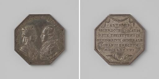 Foundation of the seminary in Leuven, in honor of Maria Christina and Albert-Kasimir, governors of the southern Netherlands, medal honored by the Brabant region. Date: 1786. Object ID: NG-VG-1-2910.
